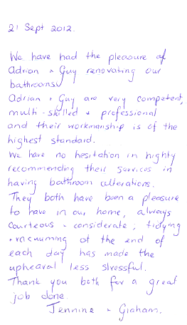 Testimonials- renovating our bathrooms